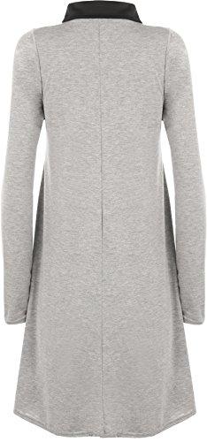 WearAll - Übergröße Kragen Langarm Plain-Schwingen-Kleid - 10 Farben - Übergrößen 44-54 Hellgrau Schwarz