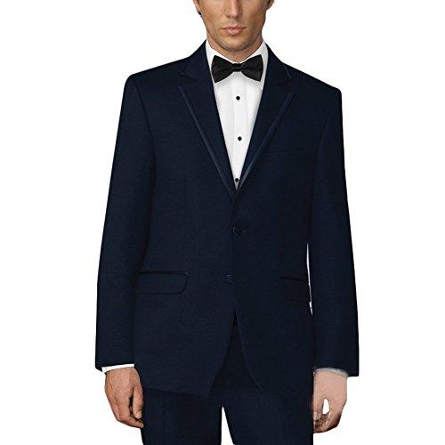 MYS da uomo personalizzato in raso Classic Lapel Suit Pantaloni cravatta Set blu scuro Deep Blue Su Misura