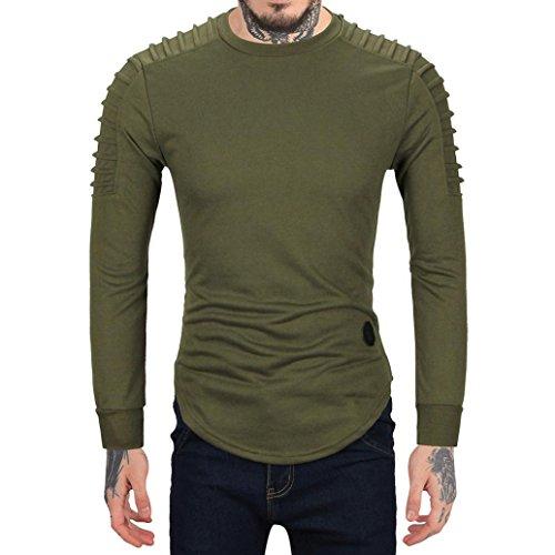 YunYoud Männer Slim Fit Tuetleneck Tops Lange Ärmel Muskel Hemd Herren Einfarbig Patchwork Blusen Mode Beiläufig T-Shirt Irregulär Pullover Sweatshirt (XL, Sexy Armee Grün)