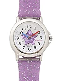 Reloj niña chica infantil analógico de cuarzo en caja de regalo, Sumergible en agua, Mecanismo Seiko, Bateria Sony, lila, Kiddus FAB 4