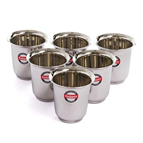 Embassy Stainless Steel Mayuri Coffee Glass / Tumbler, Pack of 6, Size 3 - 180 ml/glass
