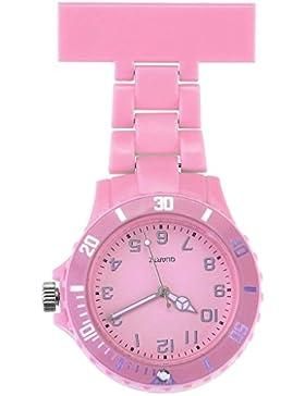 JSDDE Uhren,Schwesternuhr Trend Design Silikon Beschichtung Krankenschwesteruhr Taschenuhr Analog Quarzuhr(Pink)