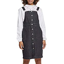 Urban Classic Women's Ladies Denim Dungarees Dress Skirt, (Black Washed 00709), S