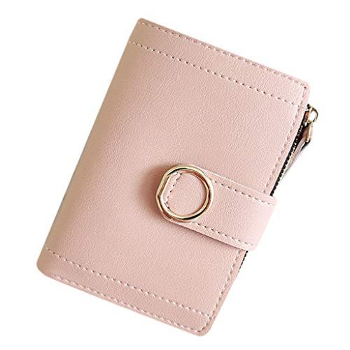 Mini Brieftasche Clutch Piebo Vintage Damen Geldbörse Karten Halter Geldbeutel Wölbungs Kleine Portemonnaie Frauen Mappe mit Münzen Taschen Geld Organisator (Rosa-9X12X1.5CM)