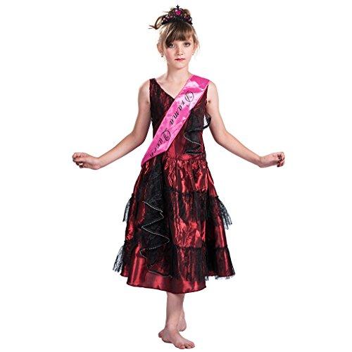 EraSpooky Mädchen Fräulein Welt Drama Königin Kostüm Party Kleid(Rot,Medium)