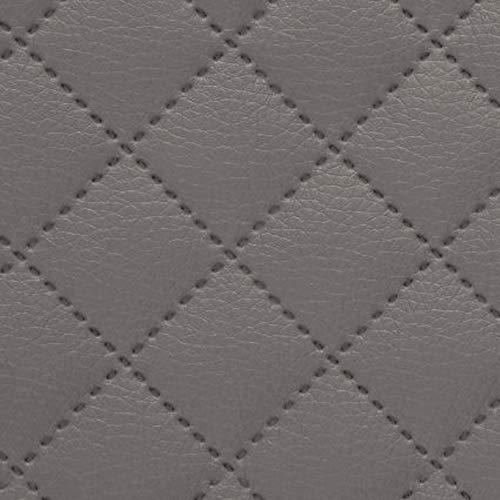 NOVELY® Soltau Kunstleder 3-LAGIG gesteppt kaschiert | Gesteppter Volumen Polsterstoff | KARO Möbelstoff Premium | 1 lfm (24 Schlammgrau) -