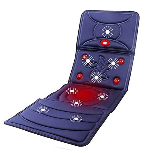Orthopädisches Memory Foam Sitzkissen Massage-Matratze Infrarot beheizt mit 9 Vibrationsmotoren Ganzkörpermassagegerät Kissen Faltbare Matte Autositz-Massagekissen zur Linderung von Nackenrücken Lende
