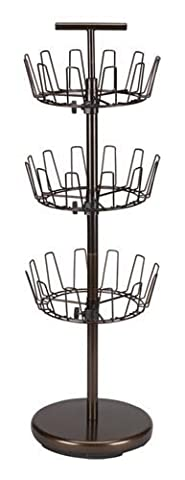 Household Essentials Three-Tier Revolving Shoe Tree Holds 18 Pairs, Bronze Finish by Household Essentials