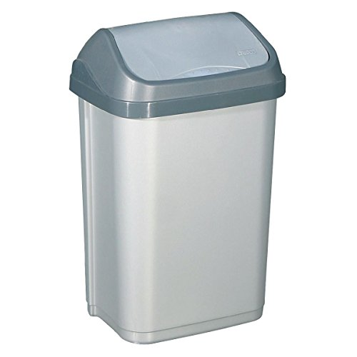ALUMINIUM ET PLASTIQ Poubelle 50 litres Couvercle basculant Gris Silver