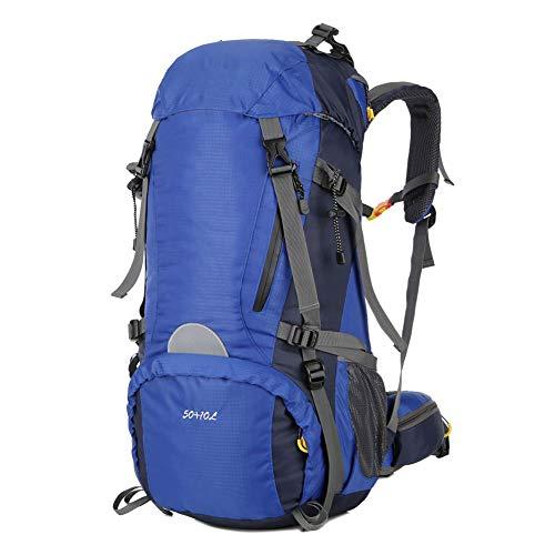 YANWE Zaino da Trekking, 50L Arrampicata Zaino con Copertura della Pioggia,mpermeabile Alta capacità Nylon Sport Escursioni Campeggio Viaggio Alpinismo,Blue