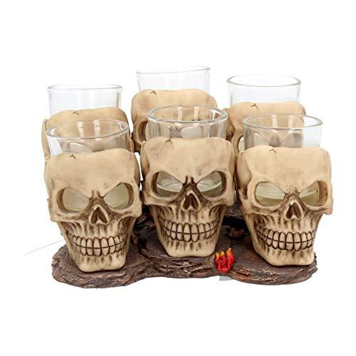 Nemesis Now Six Shooter Skulls Schnapsglas-Set altweiß -