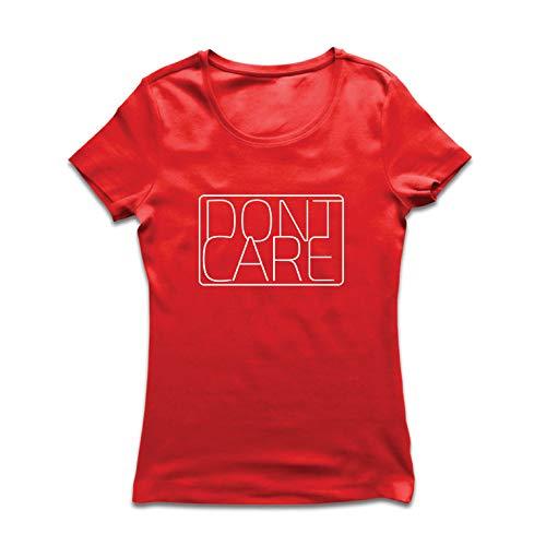 (lepni.me Frauen T-Shirt Ich interessiere Mich Nicht - lustige sarkastische Zitate, Bauernhaus Style Shirt (Small Rot Mehrfarben))