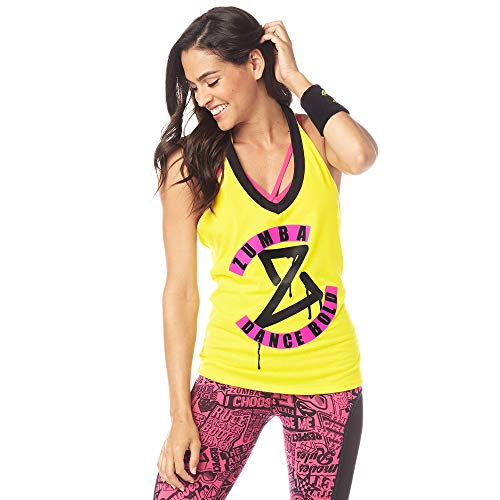 Zumba Damen Women's Fashion Print Loose Fit Workout Halter Top Tank Mell-Oh Yellow X-Small