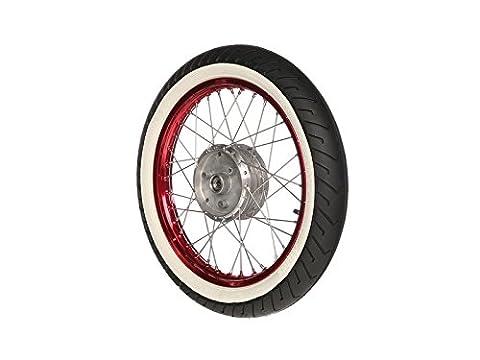 """Complet Cylindre de–Arrière–1,5x Rouge 16""""– Jante en aluminium anodisé et poli, Acier inoxydable rayons–Mitas Blanc mural de pneus MC2monté"""