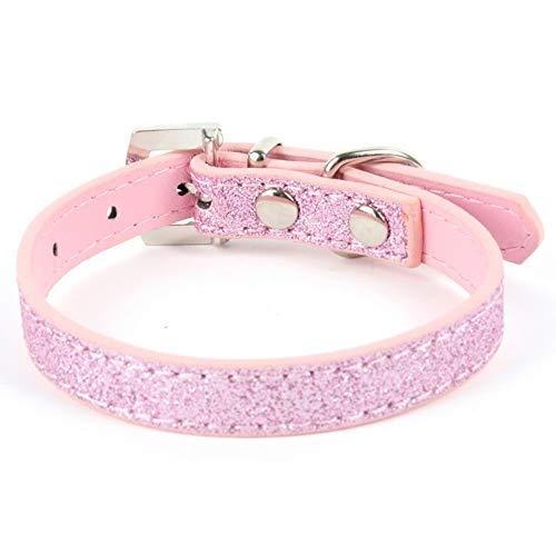 ALiYangYang Kristall Herz Anhänger Leder Haustier Hundehalsbänder Puppy Cat Choker Halsketten mit Strass Niet für Haustiere Hals Dekor,Pink,XS -