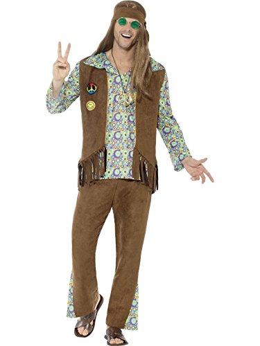 Jahre Hippie Kostüm, Hose, Oberteil, Weste, Medaillon und Haarband, Größe: XL, 43126 (60er Jahre Herren Anzug)