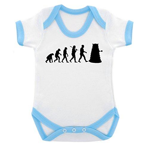 Evolution of a Cyborg Mutant Design Baby Body mit Licht blau Kontrast Trim und schwarz print Gr. 6-12 Monate, blau