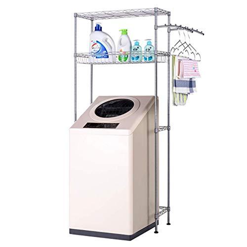 1949shop Waschmaschine Regal Kohlenstoffstahl Waschmaschine Rack Balkon Wäscheschrank Trommel Waschmaschine oberen Regal Lagerregal 2 Schichten (Silbergrau)