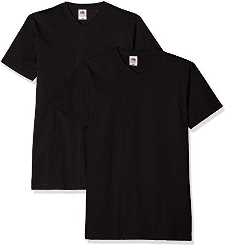 Fruit of the Loom Herren T-Shirt Valueweight V-Neck T Schwarz (Black)