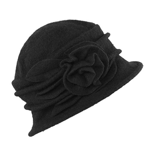 West See Damen Vintage Wolle Cloche Bucket Hut Beret Topfhut mit Blumendetail Wintermütze (schwarz) Damen Hut