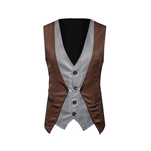 AMhomely Herren Formelle Tweed Check Zweireihige Weste Retro Slim Fit Suit Jacket Western Weste Herren Anzug Weste Slim Fit Gilet Business Anzugweste für Herren (Kaffee, L) -