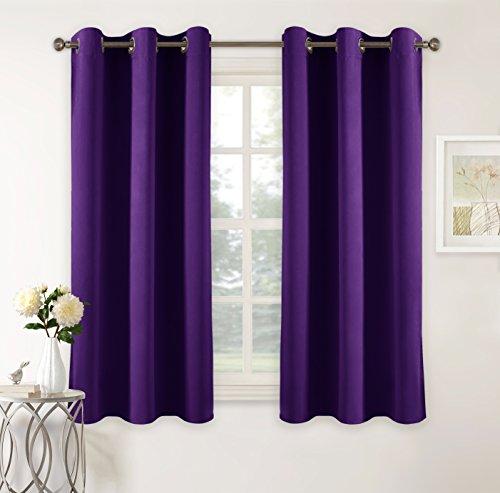 Pony dance tende oscuranti termiche viola elegante camera da letto salotto, 106 x 158 cm (larghezza x lungo), 2 panelli
