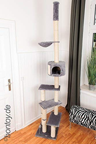 Bontoy Kratzbaum Pascha Deckenhoch mit 3 Ebenen 240-260cm grau, Sisalstämme mit 9cm Durchmesser, für Deckenhöhe von 240-260cm, weitere Deckenhöhe auf Anfrage - Drei-ebene