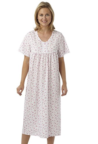 Ladies Short Sleeved Long Poly/Cotton Nightdress. Blue, Pink or Lilac Floral Print. Sizes 10-12 12-14 16-18 20-22 24-26 28-30 (28-30, PINK)