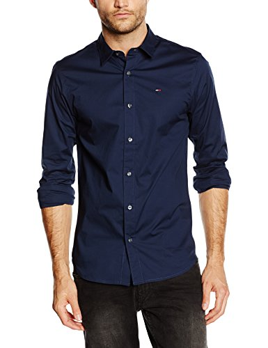 Hilfiger Denim Herren Slim Fit Freizeit Hemd Original Stretch Shirt l/s, Blau (Black Iris-PT 002), Gr. Large (Herren Hemd)