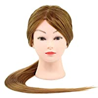 "KingSaid 30"" Salon Hairdressing Training Head 50% Real Human Hair Mannequin Doll Training Model + Clamp"