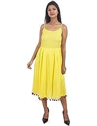 c4bff346d4 Secret Bazaar Women s Rayon Beads Decorated Plain A-line Dress(Yellow)