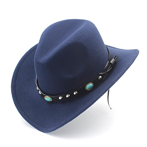 GJIN-Hats, Womens Fashion Western Cowboy-Hut mit Roll up Brim Filz Cowgirl Sombrero Caps