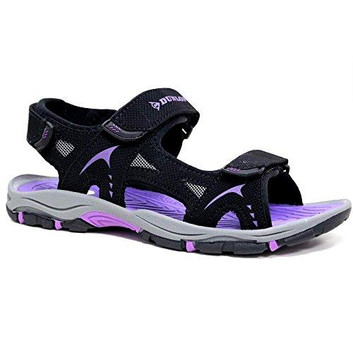 Dunlop, Aperte sulla Caviglia Donna, (Black/Purple.), 39 EU