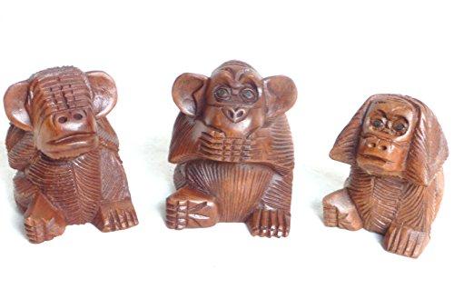 Die 3 Affen, nicht hören-nicht sehen-nicht sprechen Holz 10 cm handgeschnitzt