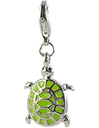 Quiges Charms cuelgan bolas Placcatoo Plata Tortuga fósiles Compatible