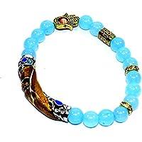 Bracelet Chalcedony With Big Pipe 8 MM Birthstone Handmade Healing Power Crystal Beads preisvergleich bei billige-tabletten.eu
