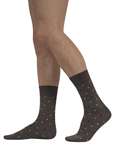 Calcetines de Algodón para Hombre | Calzetines Comodos y Elegantes | Fantasia de Lunares | Negro | 39/42 – 43/46 | Calcetería Italiana | (Gris, 39/42)