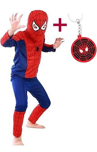 La Senorita Spiderman Kostüm Kinderkostüm Superheld Jungen Karneval Verkleidung + GRATIS Schlüsselanhänger (Größe 3 - 4 Jahr, 104-110 (S))