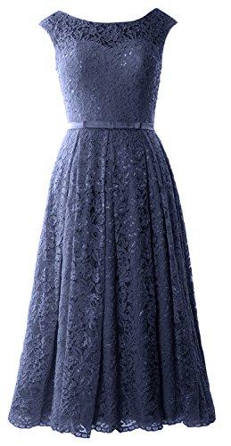 MACloth Caps Sleeve Lace Cocktail Dress Tea Length Wedding Party Formal Gown Dunkelmarine