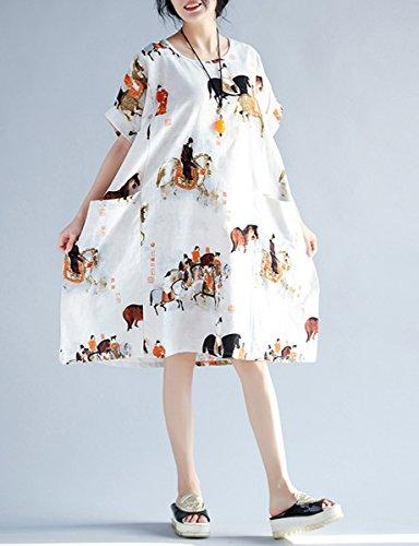 ELLAZHU Damen Sommer Locker Übergröße Kurzarm Kleider GA618 A Weiß
