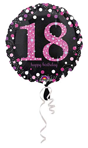 amscan 3378301 Folienballon 18.Geburtstag Celebration, Pink, - Hit Girl Fancy Dress Kostüm