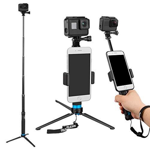 Kamera Tasche Geldbörse (TELESIN 6-in-1 Aluminiumlegierung Handheld erweiterbar Tasche Geldbörse Größe Einbeinstativ Selfie Stick mit Stativ Mount & Phone Clip für Apple, Android Smartphones, Gopro Kamera)