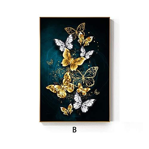 zgmtj Abstrakte Goldene Flügel Schmetterling Malerei Tableaus Big Poster Print Wandkunst Bilder für Wohnzimmer Cuadros Poster - Museum Putty