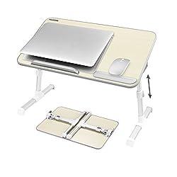 NEARPOW Laptoptisch Betttablett,Verstellbar Betttisch Bücherständer,Notebooktisch Tragbarer Schreibtisch, Faltbare Beine Frühstückstisch Notebookständer Table für Sofa, Bett,Computer