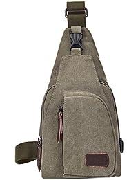 Buyworld Men Casual Canvas Chest Pack Solid Zipper Messenger Bag Travel Fanny Flap Small Retro Shoulder Bag Bolsa...