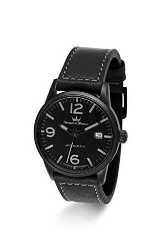 Yonger & Bresson - YBH 8351-13 - X-Trem - Montre Homme - Automatique Analogique - Cadran Noir - Bracelet Cuir Noir