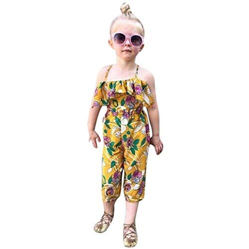 Igemy 1PCS Kleinkind Kinder Baby Mädchen Blume Printed Straps Spielanzug Overalls Piece Pants Bekleidung (140, Gelb) (Muster Sleep-pants Baumwolle)