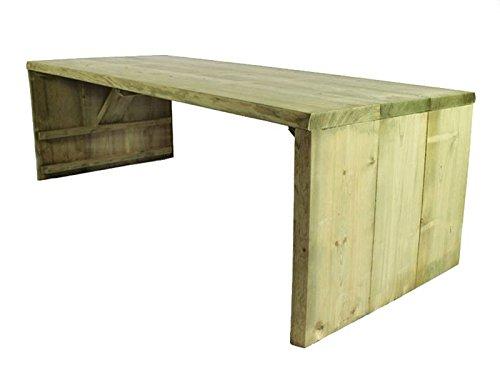 Rustikaler Baumstamm Tisch 220 cm Länge, hergestellt aus 50 mm Fichtenholz