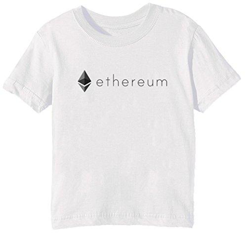 Ethereum ETH Niños Unisexo Niño Niña Camiseta Cuello Redondo Blanco Manga Corta Tama?o S Kids Unisex Boys Girls T-Shirt White Small Size S