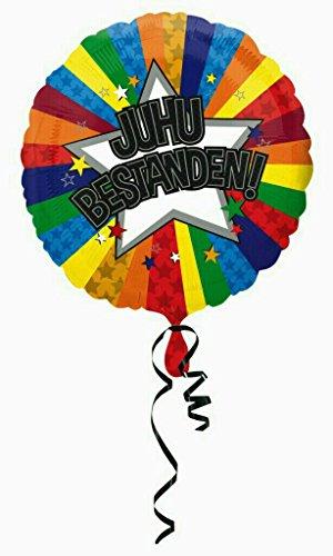 Juhu Bestanden Folienballon Helium Geburtstag mit Ballongas gefüllt Prüfung Abi Diplom Führerschein 45cm (Diplom-folie)